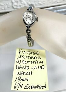 """Vintage Womens Waltham 17J Hand Wind Watch Running 14mm 6 1/4"""" Expansion Band"""
