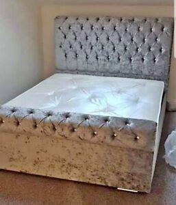 Sleigh Scroll Chesterfield Upholstered Designer Crushed Velvet Bed - FAST DEL