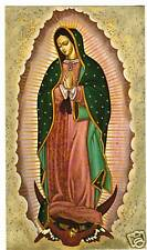 SANTINO HOLY CARD MADONNA DI GUADALUPE IN POLVERE D'ORO