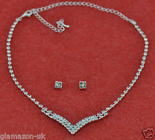 NECKLACE & EARRINGS JEWELLERY SET WEDDING PROM BRIDAL RHINESTONE DIAMANTE NEW UK