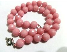 Perfect 10mm Faceted Pink Morganite Gemstone Necklace 18'' AAA