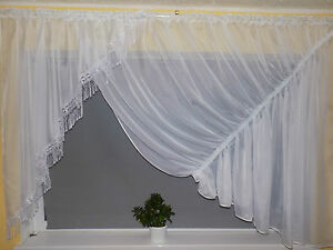 WHITE LARGE VOILE NET CURTAIN - READY TO HANG 400 cm x 150 cm