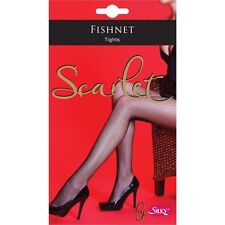 Silky Scarlet Fishnet Tights Nylons Pantyhose Sexy Sizes S M L XL Nude and Black