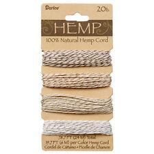 Hemp Twist Cord, 4 Colors, Metallic Stripe, 20lb weight, 19.7' (6m) per Color
