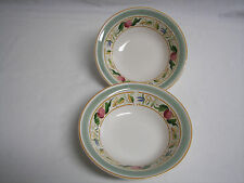 NORITAKE Keltcraft Countrywood Cereal Soup Bowl Pair Green Gold Bands on Cream