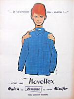 PUBLICITÉ DE PRESSE 1961 NOVELTEX LA CHEMISE BOUSSAC TERGAL MINIFER - GRUAU