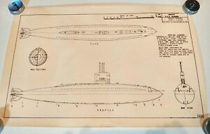 """Model Ship Drawing # 182x by Wiswesser Submarine USS Albacore 17""""X11"""""""