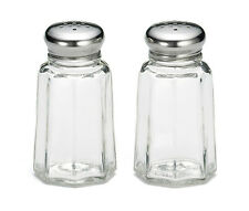 30ml Salt & Pepper Shakers Panelled Glass with Stainless Steel Top (Set of 2)