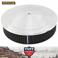 """Aeroflow Chrome Air Cleaner Assembly 14"""" x 3"""" with Drop Base & Washable Filter"""