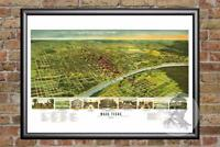 Vintage Waco, TX Map 1892 - Historic Texas Art - Old Victorian Industrial