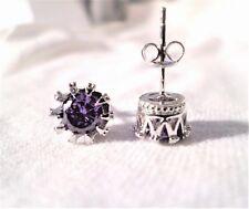 womens Amethyst 10mm crown stud earrings 925 sterling silver
