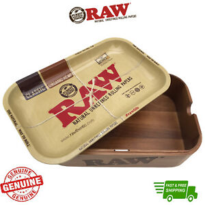 RAW Cache Stash Box Wood Storage with Small Rolling Tray Lid & Free Accessories