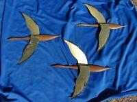 VTG FLYING GEESE Ducks Brass Metal WALL ART Mid Century Modern Set of 3