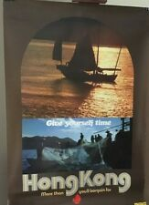 "Vintage Original Travel Poster HONG KONG Mid Century ""Give Yourself Time"""