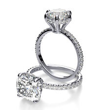1.80Ct Cushion Cut Solitaire Diamond Engagement Ring Micro U-Setting F,VS1 14KW