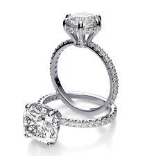 2.00 Ct Cushion Cut Diamond Round Pave & U-Setting Engagement Ring  I,IF GIA 18K
