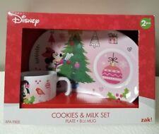 Disney Holiday Cookies And Milk 2Pc Plate And 8Oz Mug Minnie Mouse Bpa Free Nib