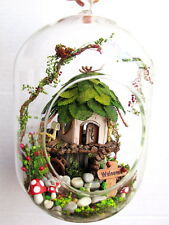 Dollhouse miniature in Mini Glass Ball w/ light - fantasy Elf House