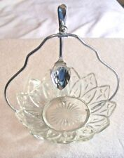 Antique Crystal Jelly Dish W/ Chromium Plated Spoon, Sheffield England
