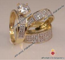 Engagement Wedding Band Bridal Trio Ring Set Yellow Gold Over Round Cut Diamond