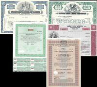 5 verschiedene historische Wertpapiere, (IT/Computer), NIXDORF,WU,ITT,Corning