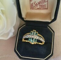 Vintage Jewelry Gold Ring Aquamarine and White Sapphires Antique Deco Jewellery