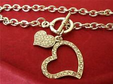 Crystal Double Heart Love Toggle BRACELET Silver Plated NEW