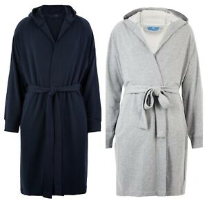 M&S Mens  Cotton Rich Jersey Hooded Dressing Gown - Size S - XXL Navy - Grey