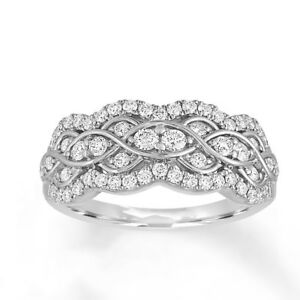 Sterling Silver .925 Women's CZ Art Deco Anniversary Wedding Ring Band Size 4-10