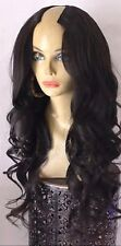 "24"" 8A #1b Brazilian Virgin Natural Wave 180% Density 2X4"" U-Part Wig"