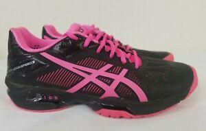 ASICS Gel Solution Speed 3 Sneakers Women's 6 Black Hot Pink Tennis Shoes  E650N