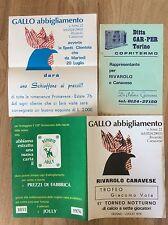 VOLANTINI PUBBLICITARI ABBIGLIAMENTO PIEMONTE CALCIO TORNEO NOTTURNO ANNI '70