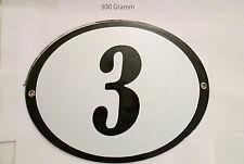 Hausnummer Oval Emaille  schwarze Nr. 3  weißer Hintergrund 19 cm x 15 cm
