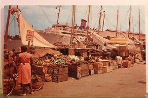 Bahamas Nassau Water Front Market Postcard Old Vintage Card View Standard Postal