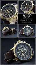 CAVADINI Chronograph Streetfighter Tachymeter, drehbarer GMT-Ring, gold-braun