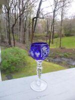Vintage Nachtmann Traube Bavarian Cut Crystal Wine Cordial Glass Royal Blue