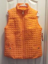 Womens-Size-Medium-Clemson-Orange-Fashion-Vest-Zip-Front-Snap-Pockets-Polyester