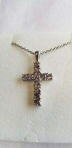 Lab Created Color Changing Sapphire Cross Pendant With Chain