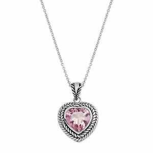 """Rope Heart Pendant in Rhodium-Plated Brass, 18"""""""