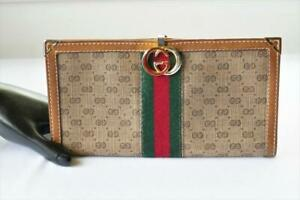 VINTAGE AUTHENTIC GUCCI GG MONOGRAM CANVAS & LEATHER CHECKBOOK WALLET
