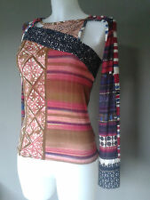 Save the Queen top - stunning print - leather at neck - opening at one arm - S/M