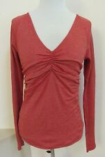 Michael Stars Shine V-Neck Tee Top OS 0120 Ruched Long Sleeve Coral Gold Shimmer