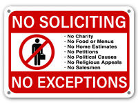No Soliciting Sign No Exceptions Front Door Home Business Security Red on White
