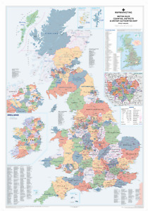 UK Wall Map – Large Laminated Map, Counties, Districts, Postcode And Road Info