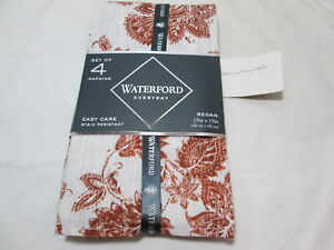 Waterford Linens REGAN FLORAL Set of 4 Napkins 19x19 ~ Leave & Flowers Cinnamon