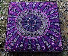 Elephant Mandala Square Floor Pillow Large Ottoman Pouf Cover Hippie Indian Sofa