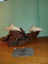 Vintage John Perry Sculpture 2 Dolphins & Baby Calf on Burlington Wood Tag 1973