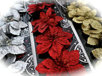 4 Glitter Christmas Flowers Poinsettia Gold Silver Red Wreath Garland Decoration