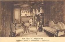 Bible Hotel Smoking Room Amsterdam Netherlands 1910c postcard