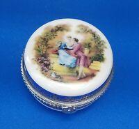 Vintage Round Victorian Design Porcelain Pill/Trinket/Jewelry Box